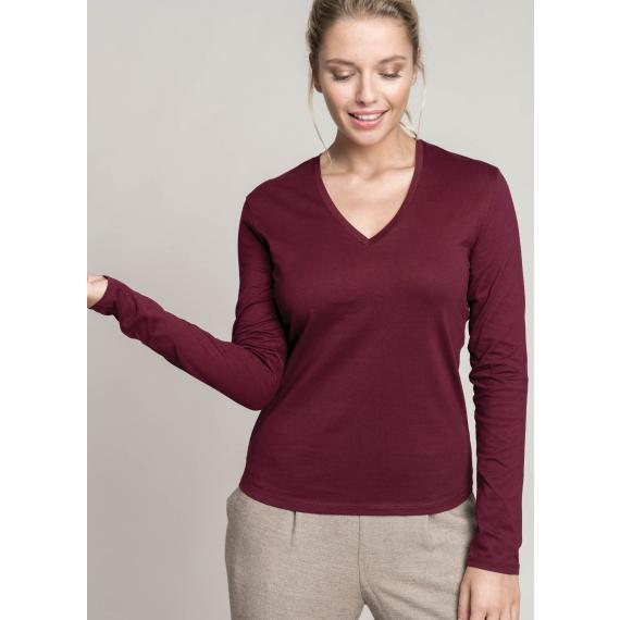K382 V-neck LSL sieviešu t-krekls
