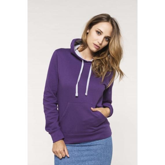 K465 Two-tone hooded sieviešu džemperis