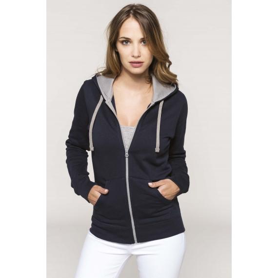 K467 Two-tone hooded sieviešu jaka