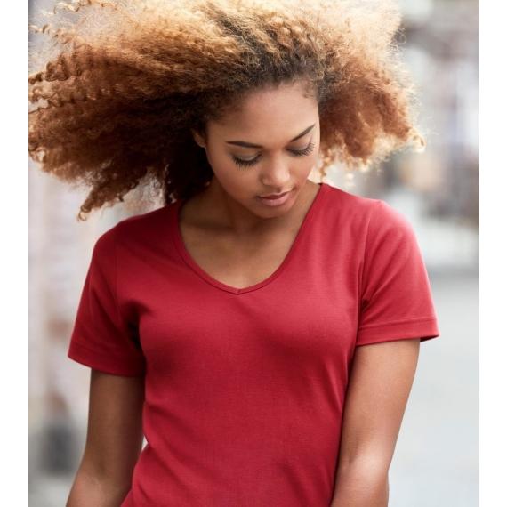 ID 0506 Interlock V-Neck sieviešu t-krekls