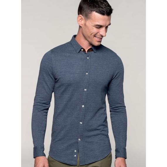 K507 Jaquard knit LSL vīriešu krekls